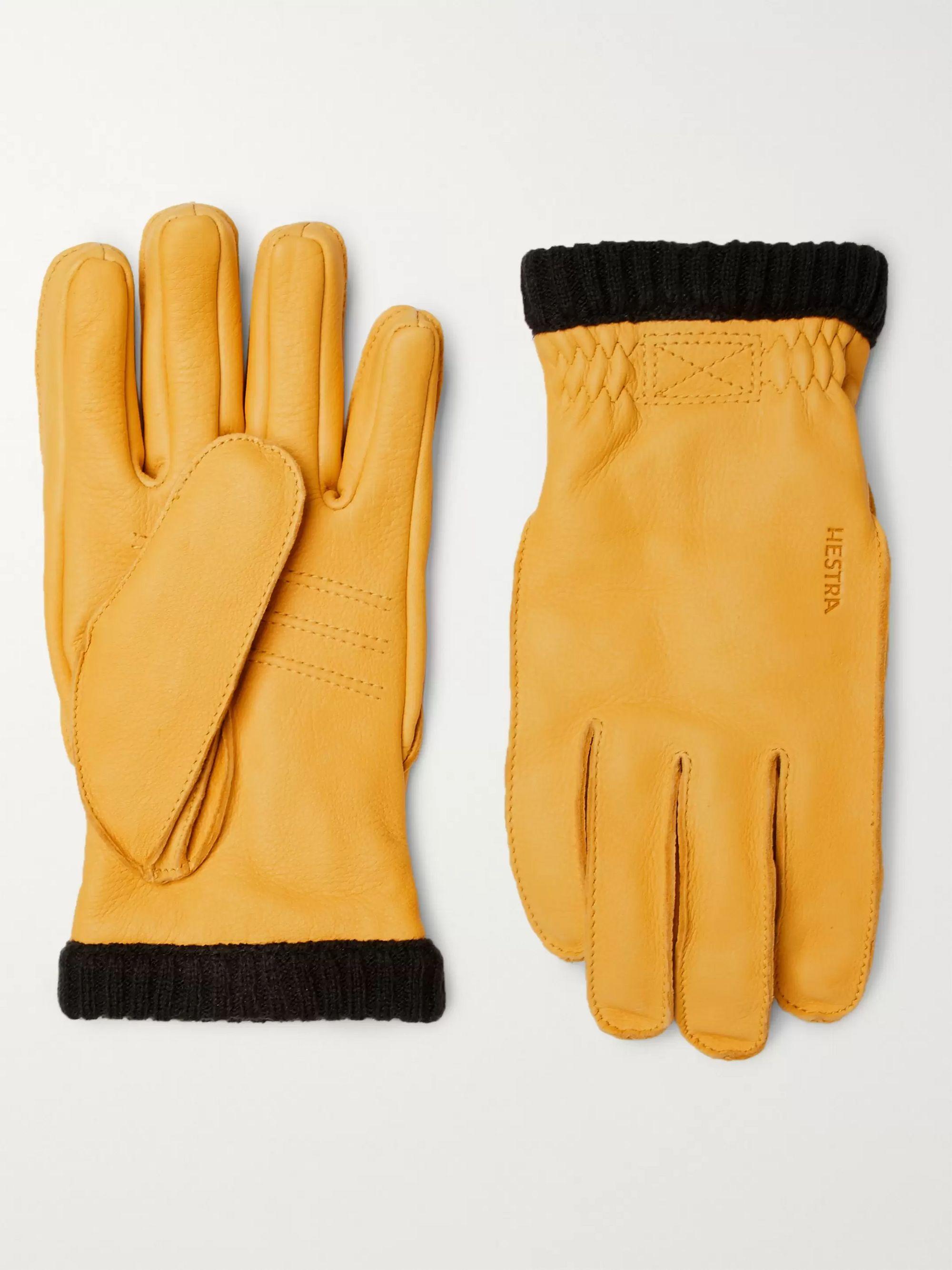 Yellow Primaloft Fleece-lined Full-grain Leather Gloves | Hestra