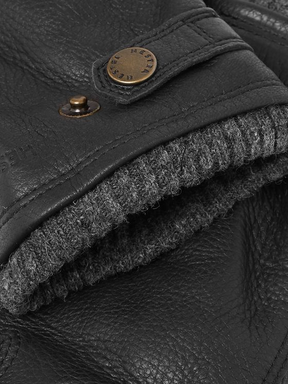 Hestra Utsjö Fleece-Lined Full-Grain Leather and Wool-Blend Gloves