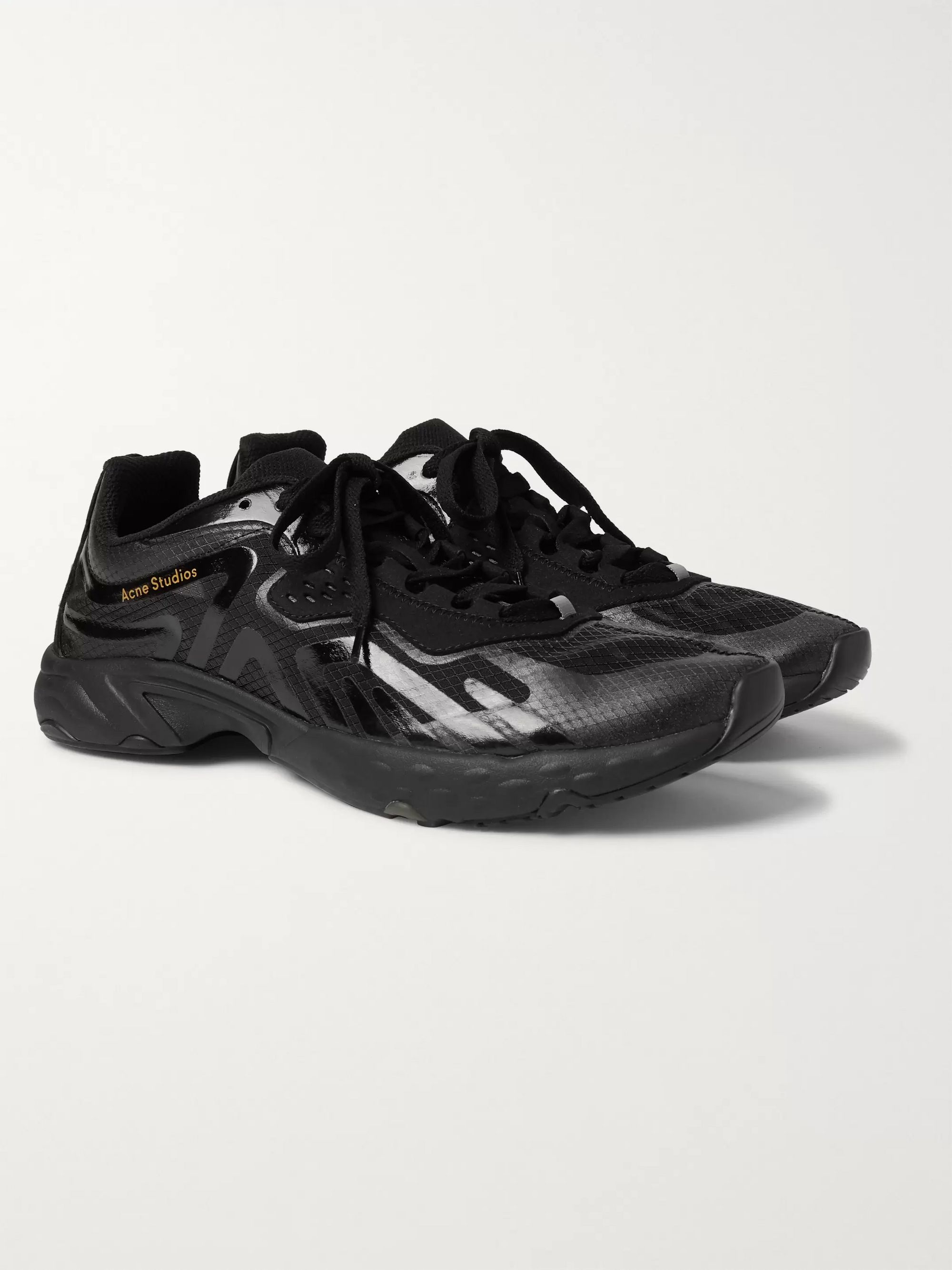 아크네 스튜디오 Acne Studios Faux Suede- and Rubber-Trimmed Ripstop Sneakers,Black