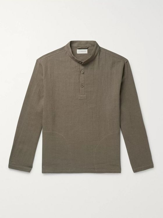Satta Sukha Grandad-Collar Garment-Dyed Linen and Cotton-Blend Half-Placket Shirt