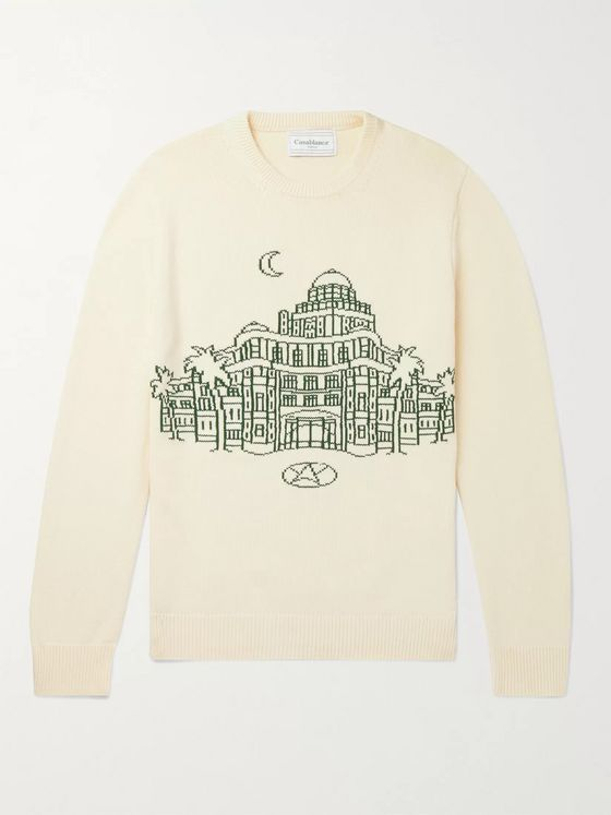 Casablanca Intarsia Cotton Sweater