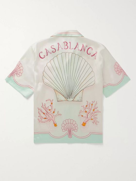 Casablanca Camp-Collar Printed Linen Shirt