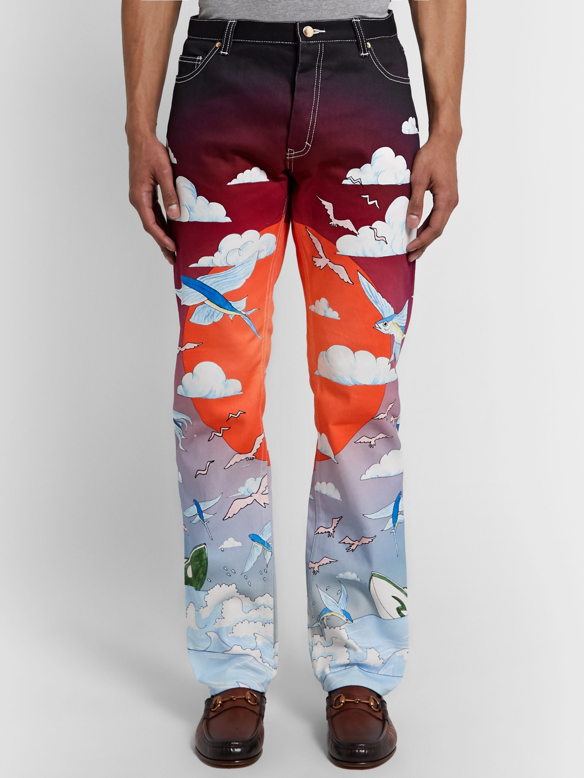 Casablanca Speed Boat Printed Denim Jeans
