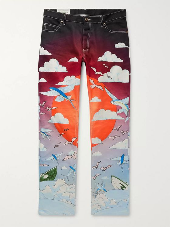 Casablanca Chambre Slim-Fit Printed Denim Jeans