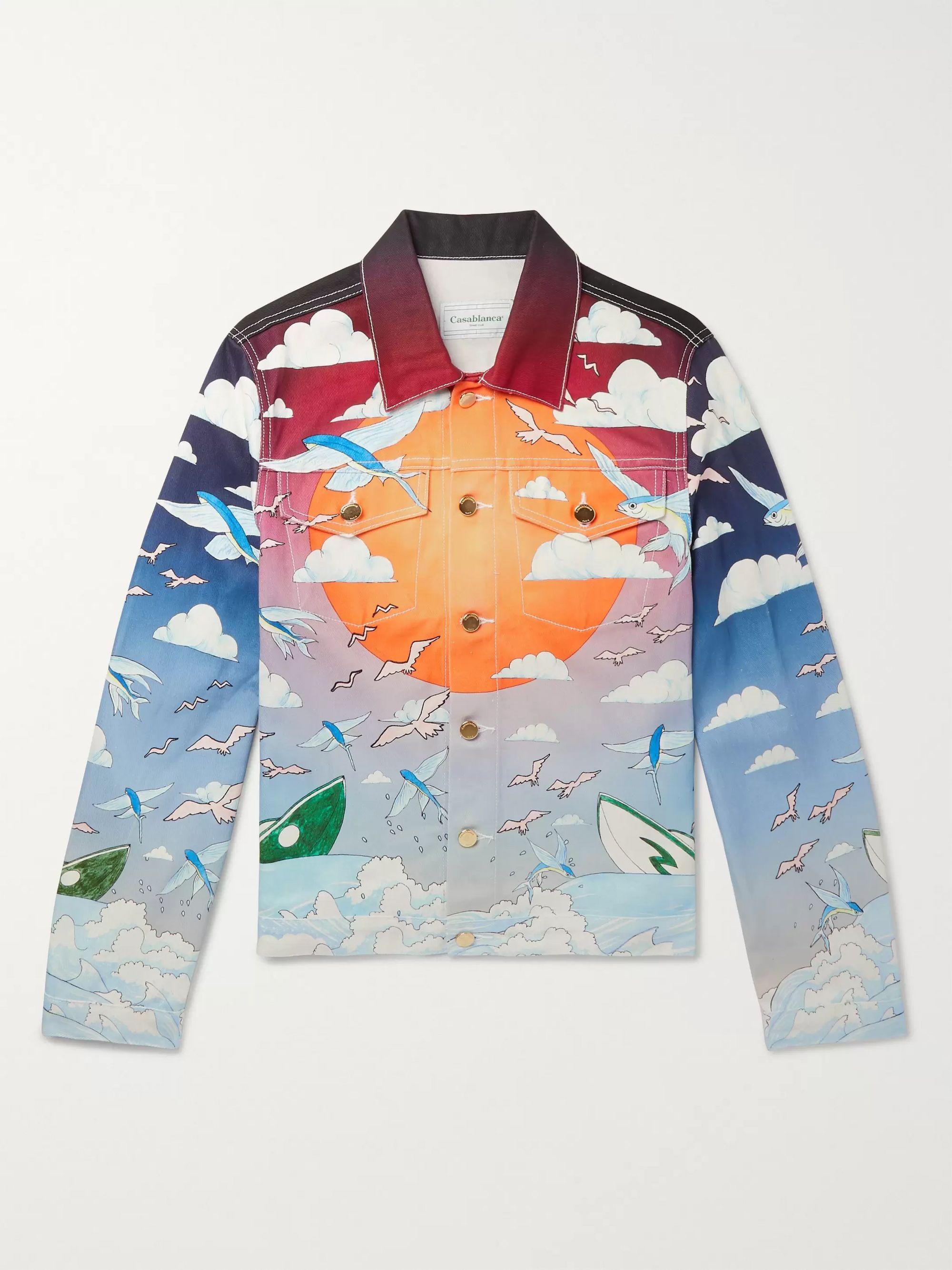 카사블랑카 Casablanca Blue Speed Boat Club Printed Denim Jacket,Blue