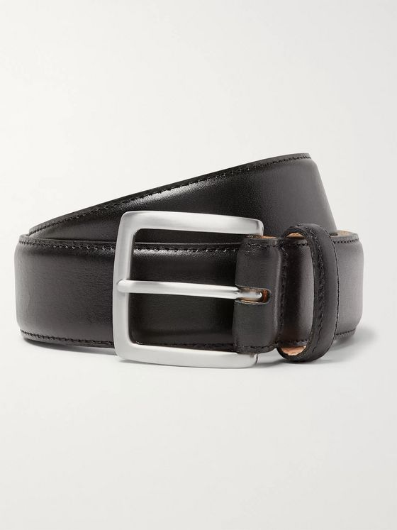George Cleverley 3.5cm Black Leather Belt
