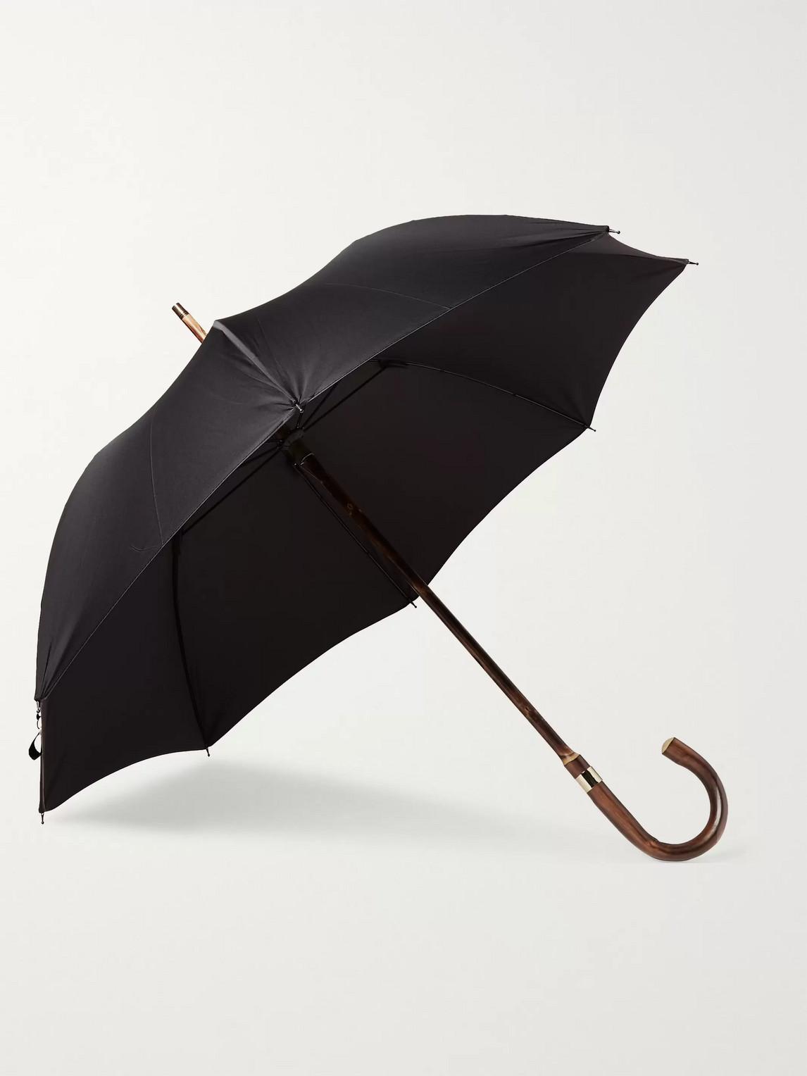 Kingsman London Undercover Chestnut Wood-handle Umbrella In Black