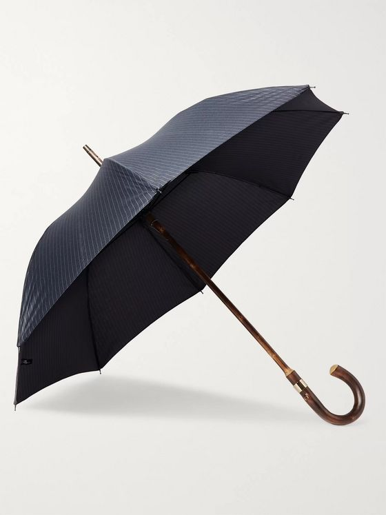 Kingsman + London Undercover Pinstriped Chestnut Wood-Handle Umbrella