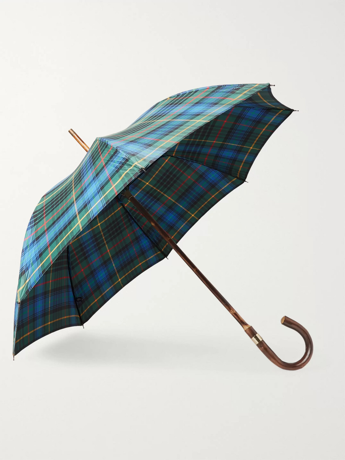 Kingsman London Undercover Checked Chestnut Wood-handle Umbrella In Green