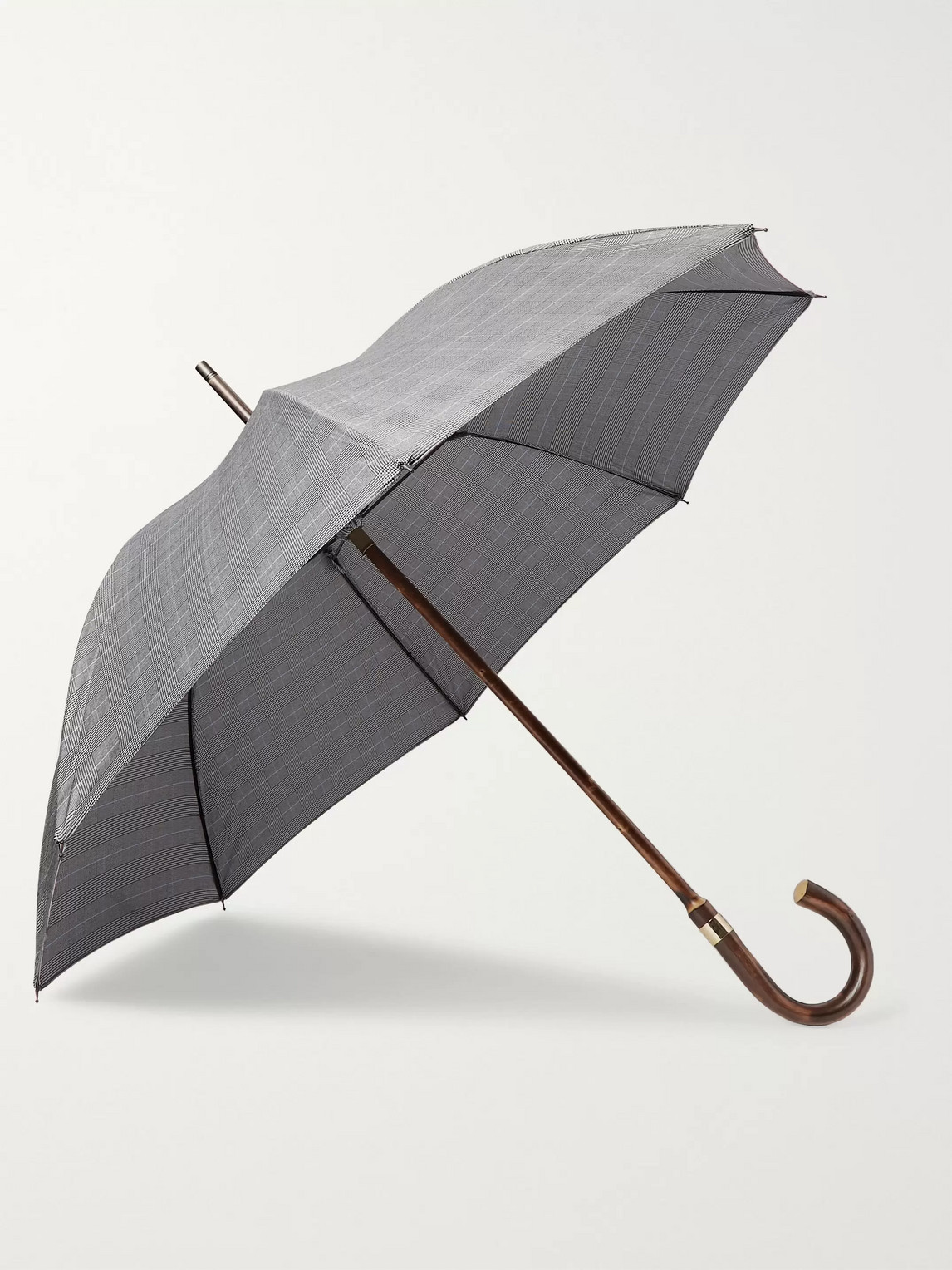 Kingsman London Undercover Prince Of Wales Checked Chestnut Wood-handle Umbrella In Black