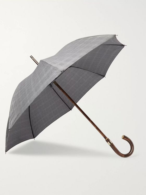 Kingsman + London Undercover Prince of Wales Checked Chestnut Wood-Handle Umbrella