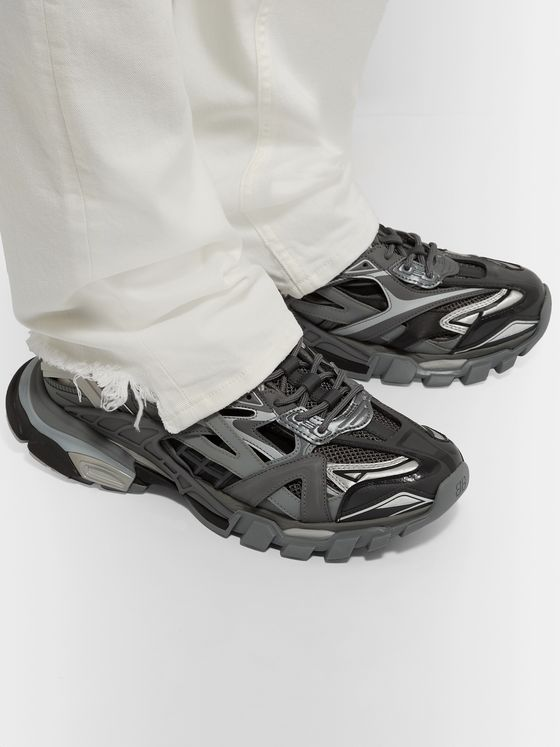 Balenciaga Track.2 Leather-Trimmed Nylon, Mesh and Rubber Sneakers