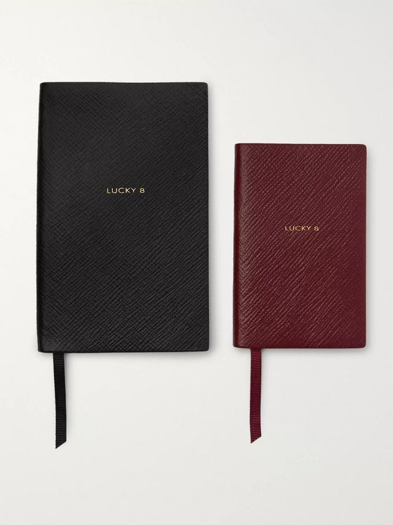 Smythson Set of Two Lucky 8 Cross-Grain Leather Notebooks