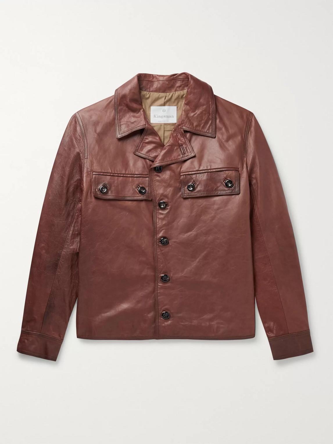 Kingsman Burnished-leather Jacket In Brown