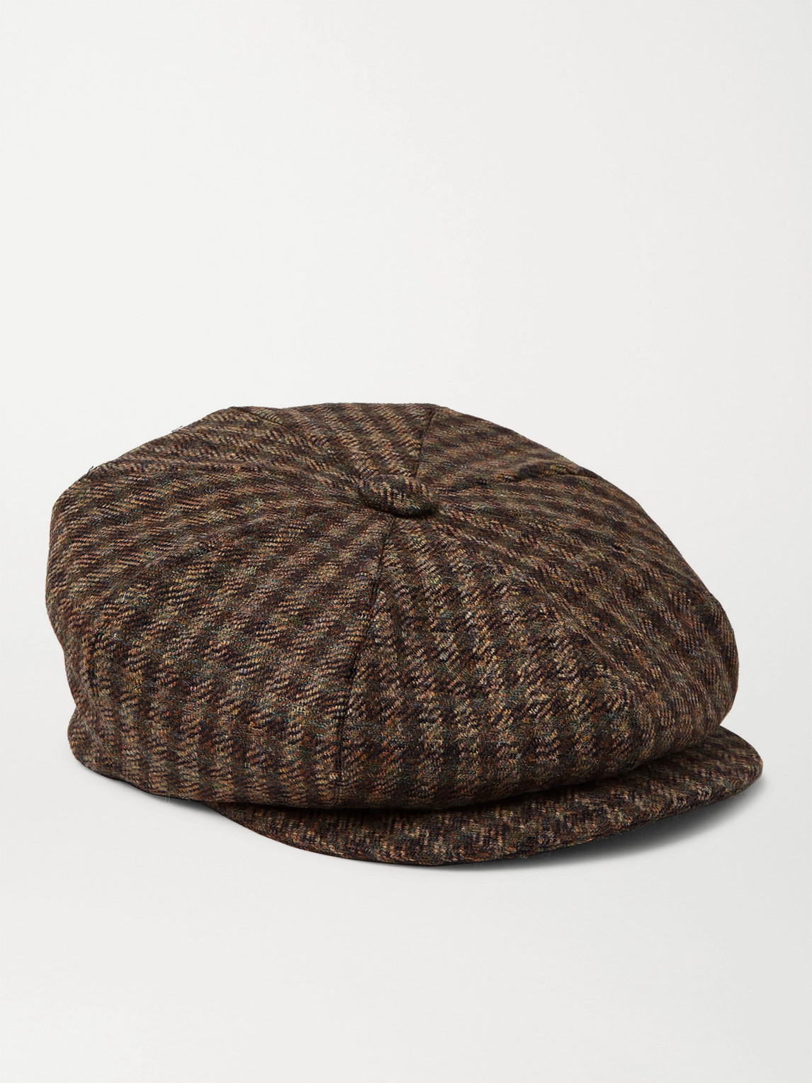 Kingsman Lock & Co Hatters Checked Wool-tweed Flat Cap In Brown