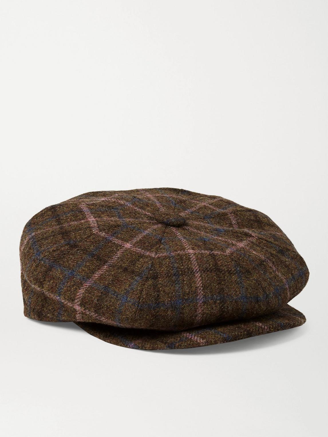 Kingsman Lock & Co Hatters Checked Wool-tweed Flat Cap In Brown