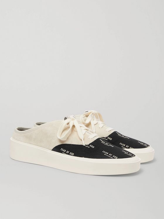FEAR OF GOD 101 Suede and Logo-Print Canvas Backless Sneakers