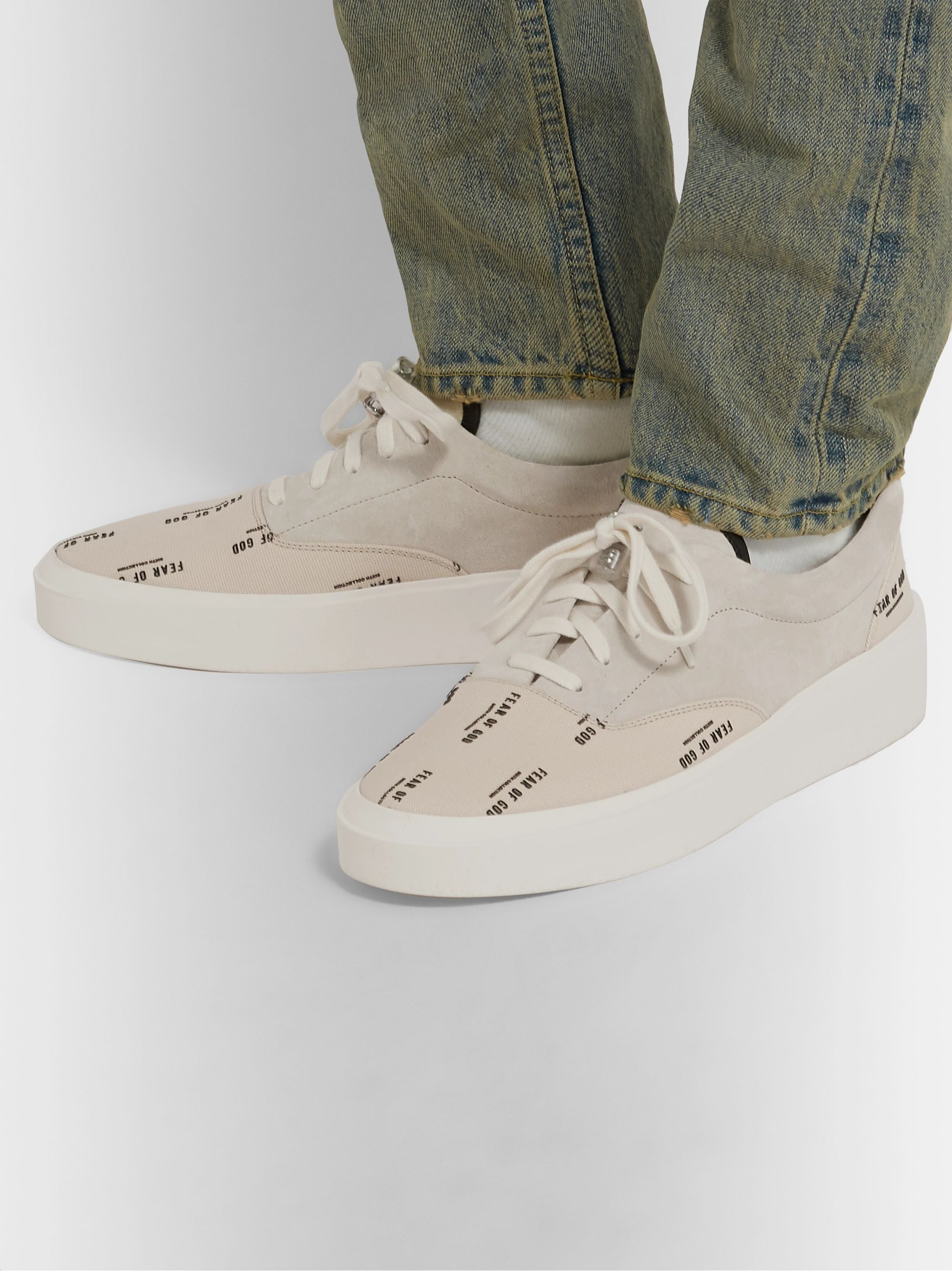 101 Leather Trimmed Suede and Logo Print Canvas Sneakers