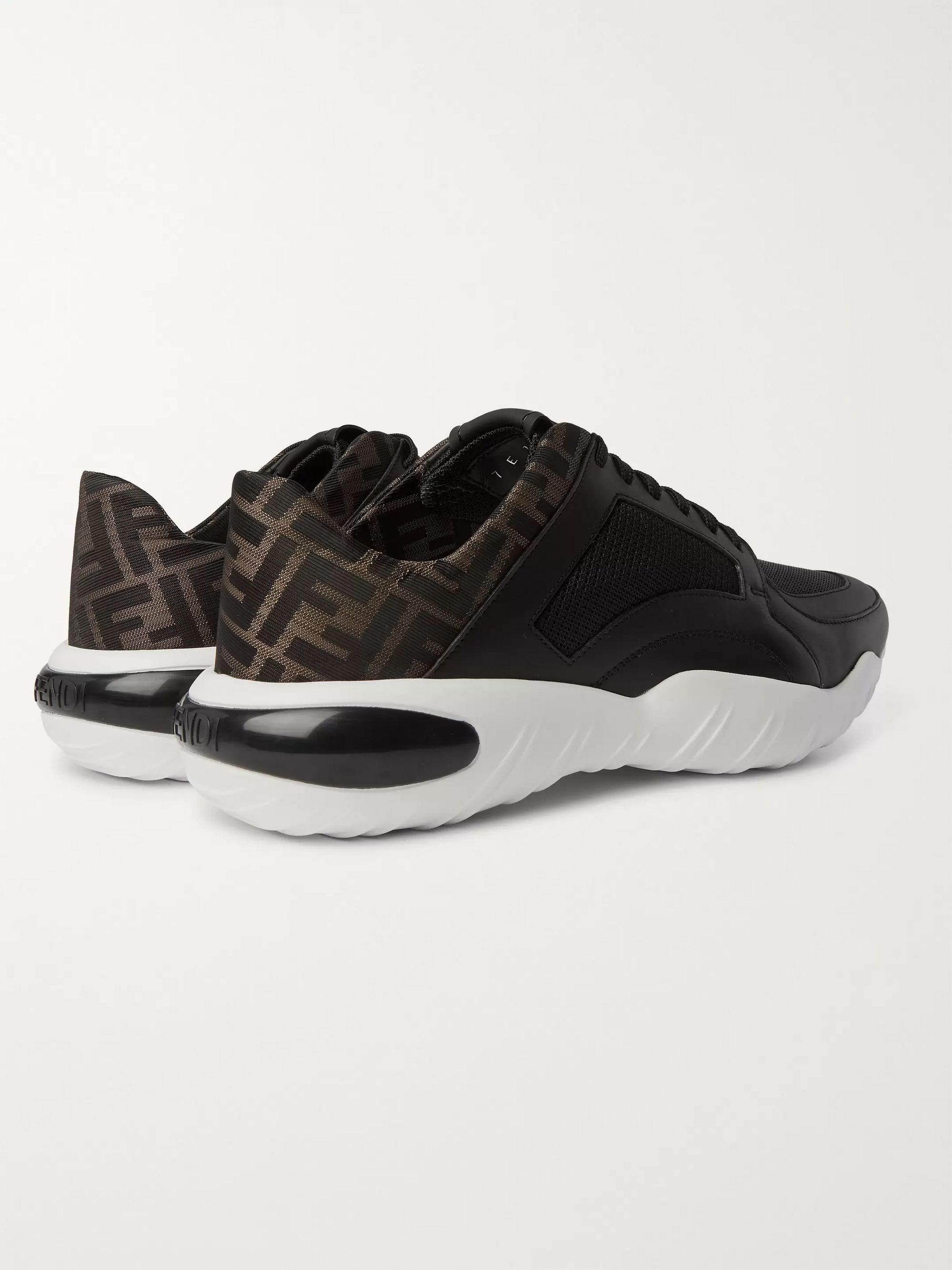 Fendi Logo-Jacquard Leather and Mesh Sneakers