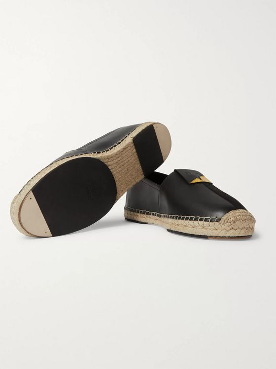 Fendi Appliquéd Leather and Suede Espadrilles