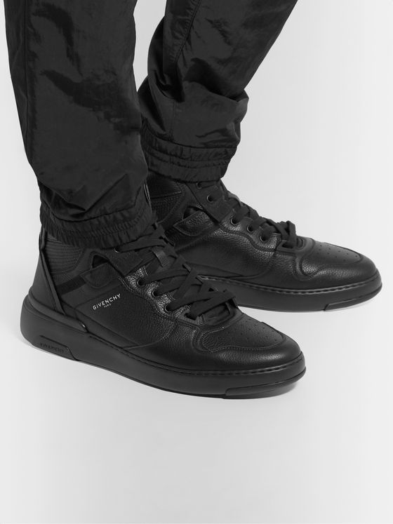 Givenchy Wing Grosgrain-Trimmed Full-Grain Leather High-Top Sneakers