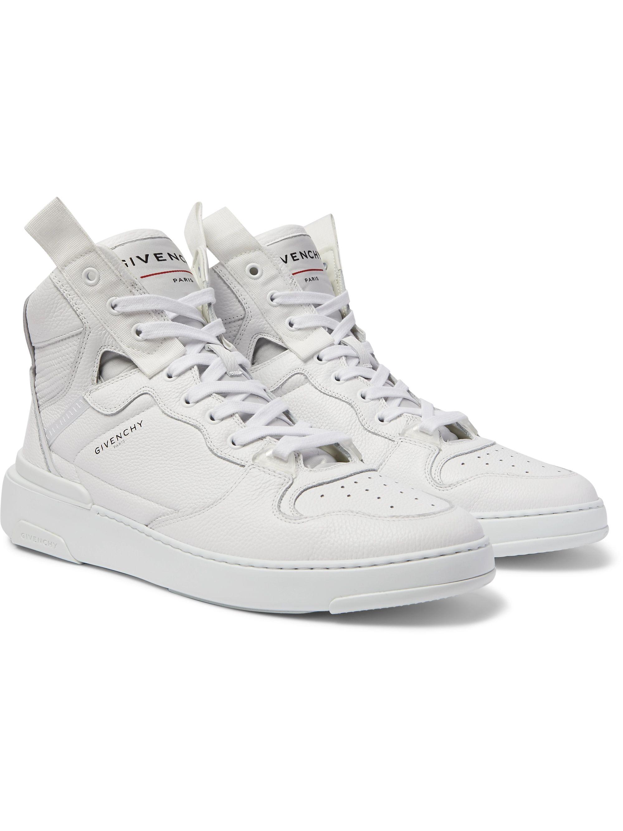 Wing Grosgrain Trimmed Full Grain Leather High Top Sneakers
