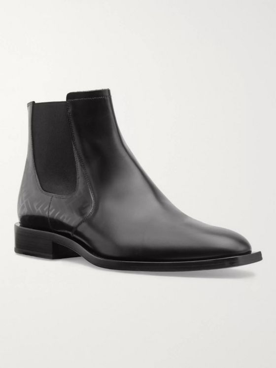 Fendi Logo-Print Leather Boots