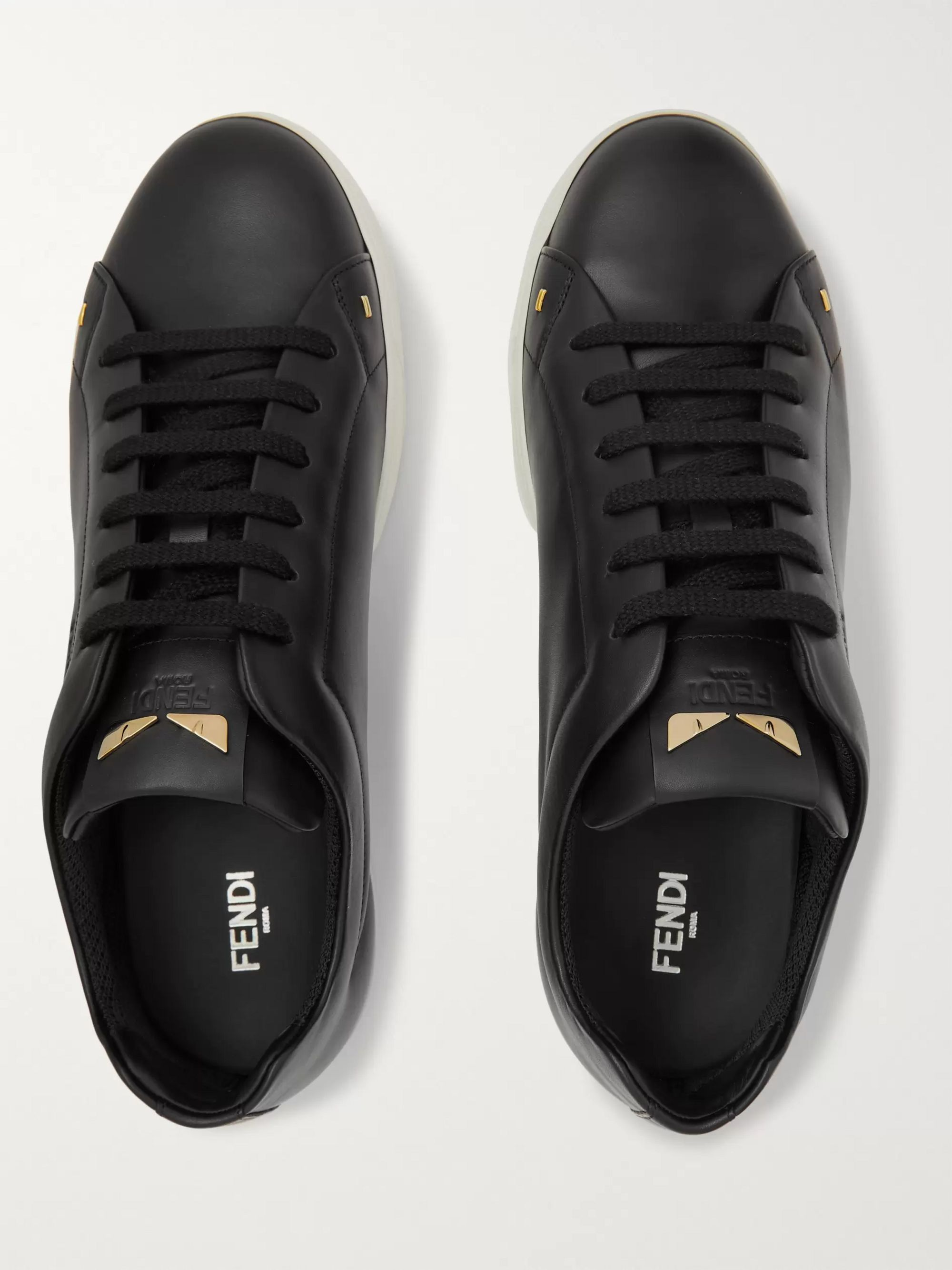Fendi I See You Embellished Leather Sneakers