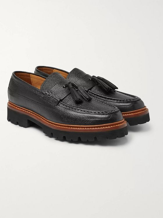 Grenson Booker Pebble-Grain Leather Tasselled Loafers