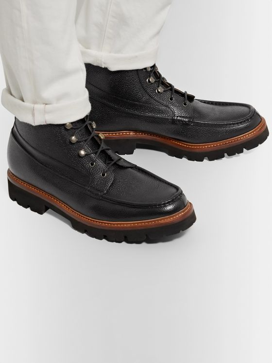 Grenson Rocco Pebble-Grain Leather Boots