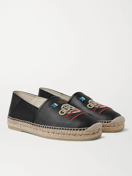 Gucci Alejandro Collapsible-Heel Logo-Embroidered Leather Espadrilles