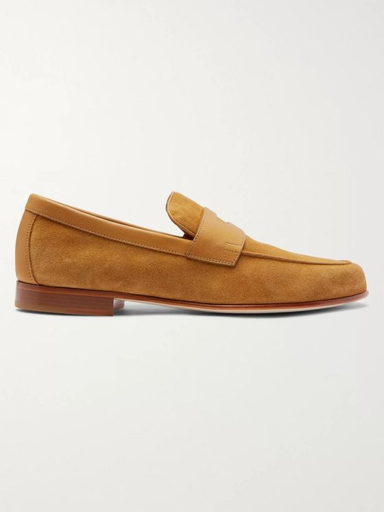 John Lobb Hendra Leather-Trimmed Suede Penny Loafers
