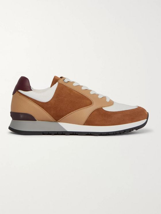 John Lobb Foundry Suede, Textured-Leather and Mesh Sneakers
