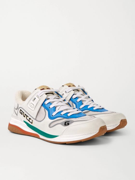 Gucci Ultrapace Distressed Leather and Mesh Sneakers