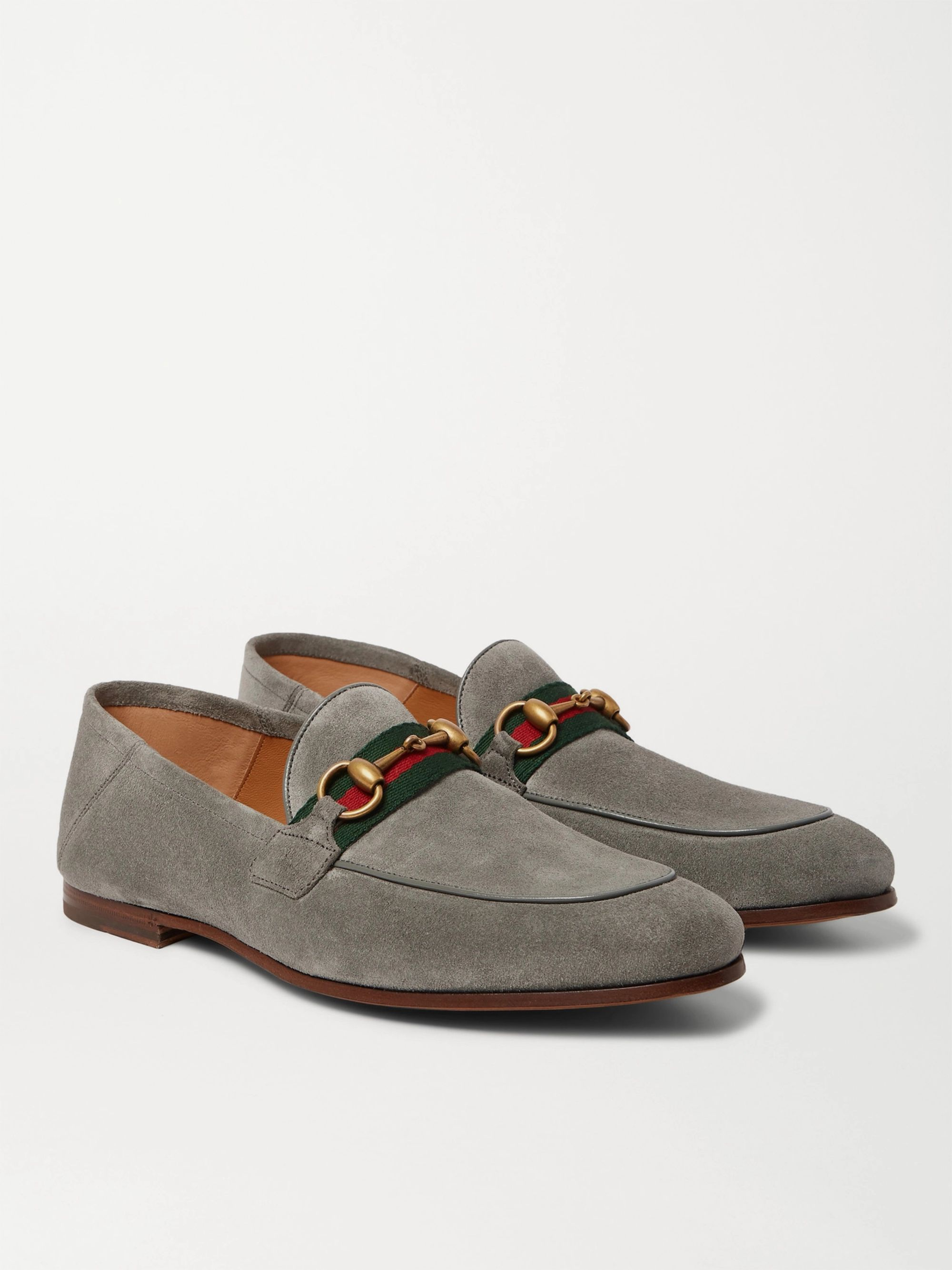 Gucci Brixton Horsebit Webbing-Trimmed Collapsible-Heel Suede Loafers