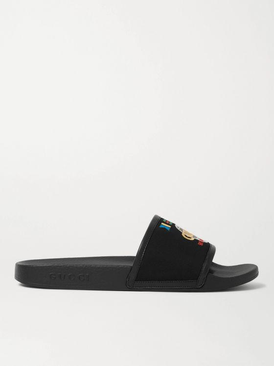 GUCCI Pursuit Logo-Embroidered Canvas and Rubber Slides
