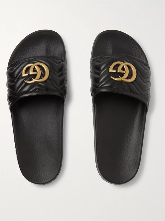 Gucci Pursuit Logo-Embellished Quilted Leather Slides