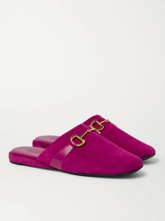 GUCCI Pericle Horsebit Suede Slippers