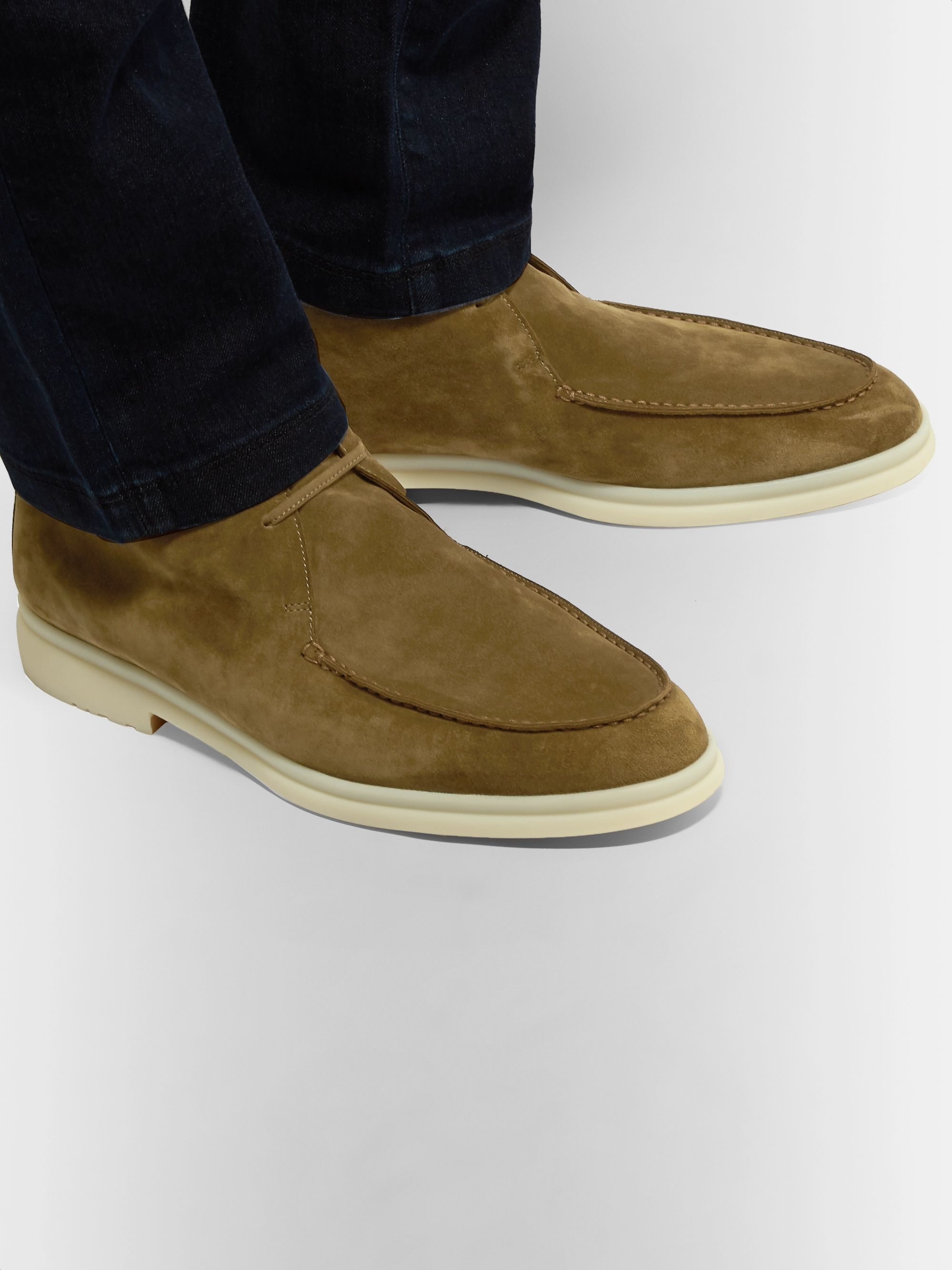Loro Piana Walk and Walk Cashmere-Lined Suede Boots