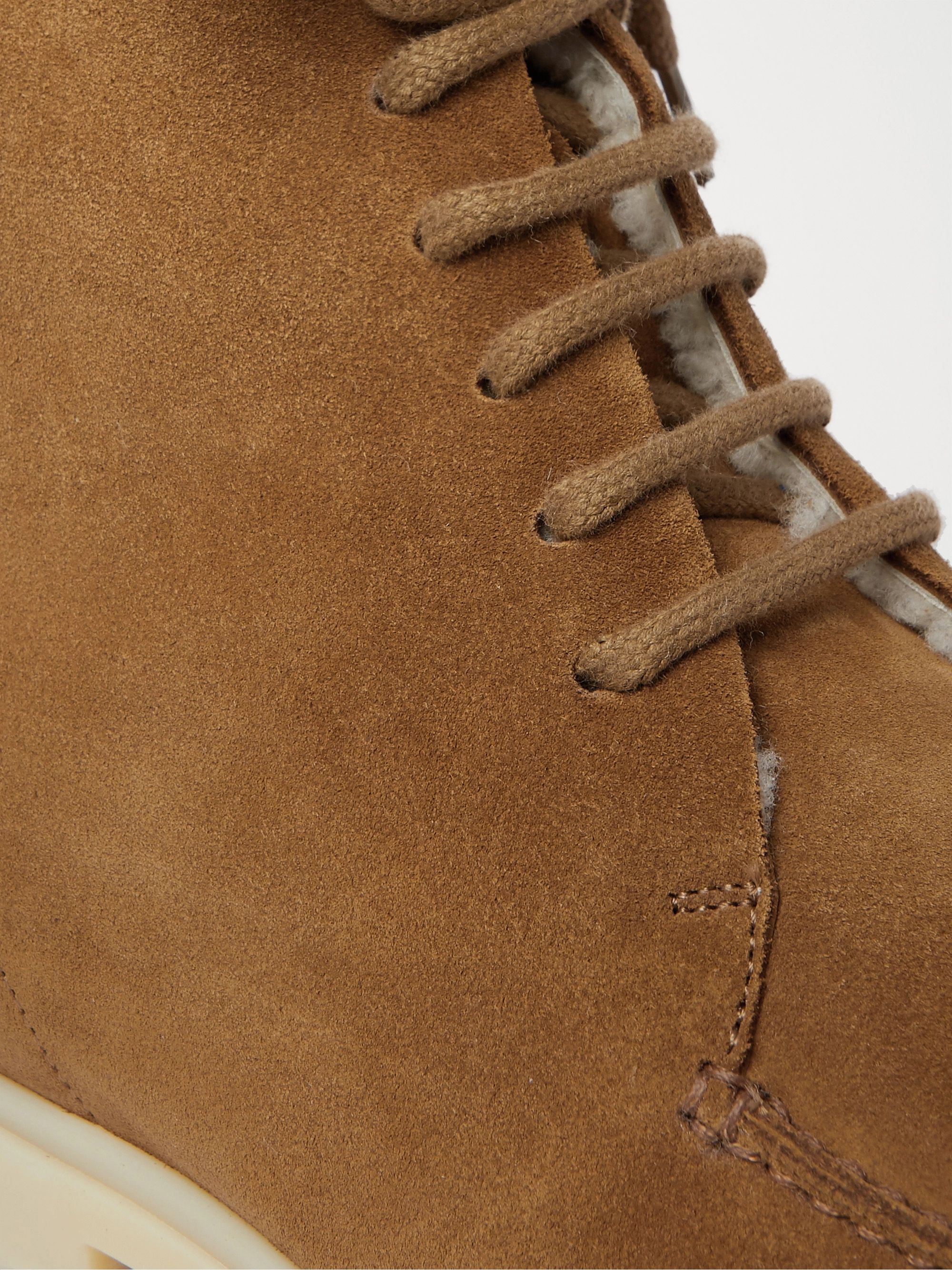 Loro Piana Walk and Walk Shearling-Lined Suede Boots