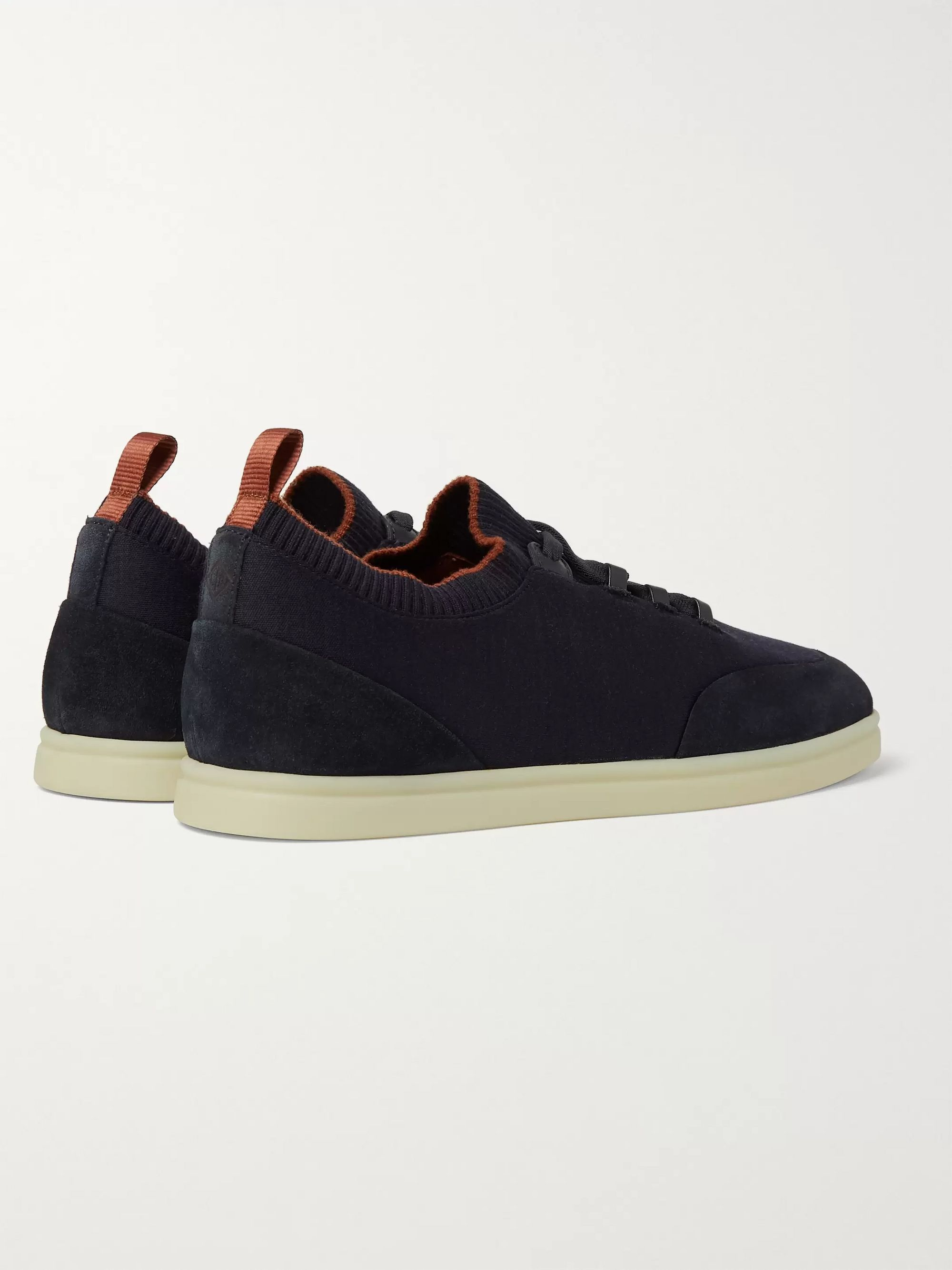 Loro Piana Soho Walk Suede-Trimmed Merino Wool Sneakers