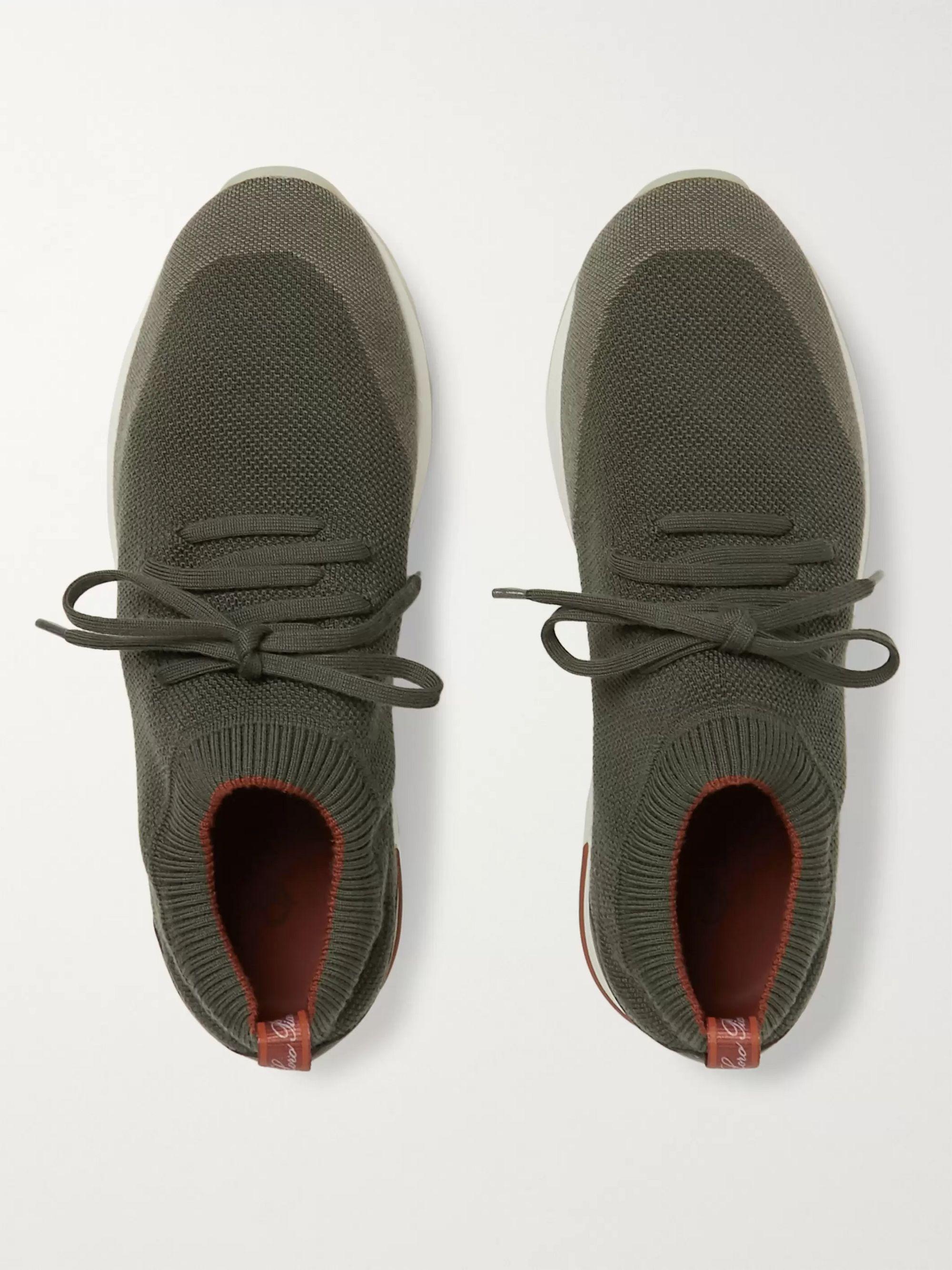 Army Green 360 Flexy Walk Leather-trimmed Wish Wool Sneakers | Loro Piana
