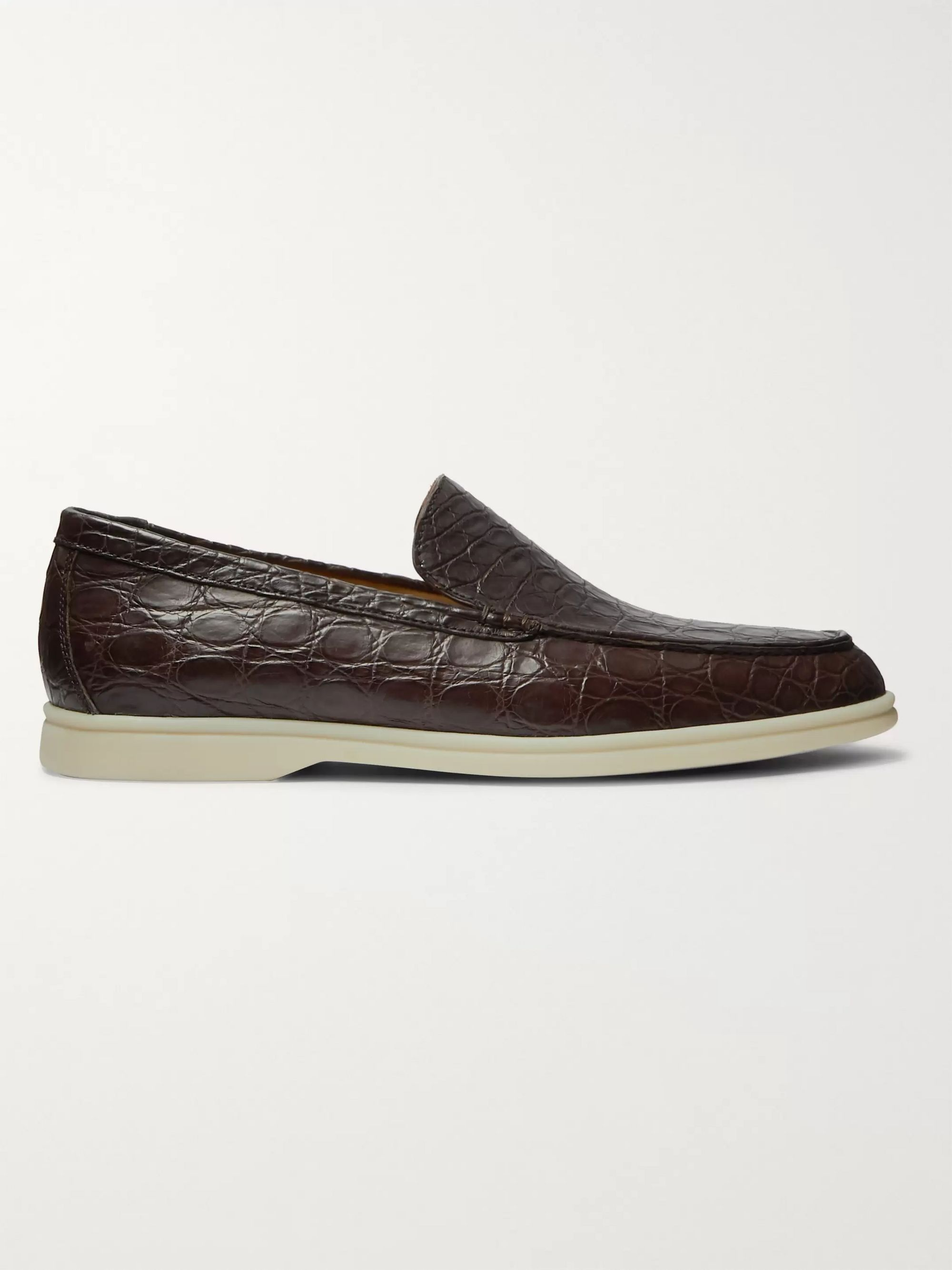 LORO PIANA Summer Walk Crocodile Loafers
