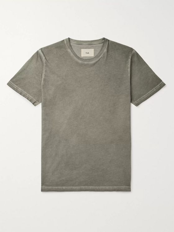 Folk Assembly Garment-Dyed Organic Cotton-Jersey T-Shirt