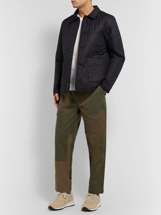 Folk Tapered Cropped Panelled Cotton-Canvas and Twill Trousers