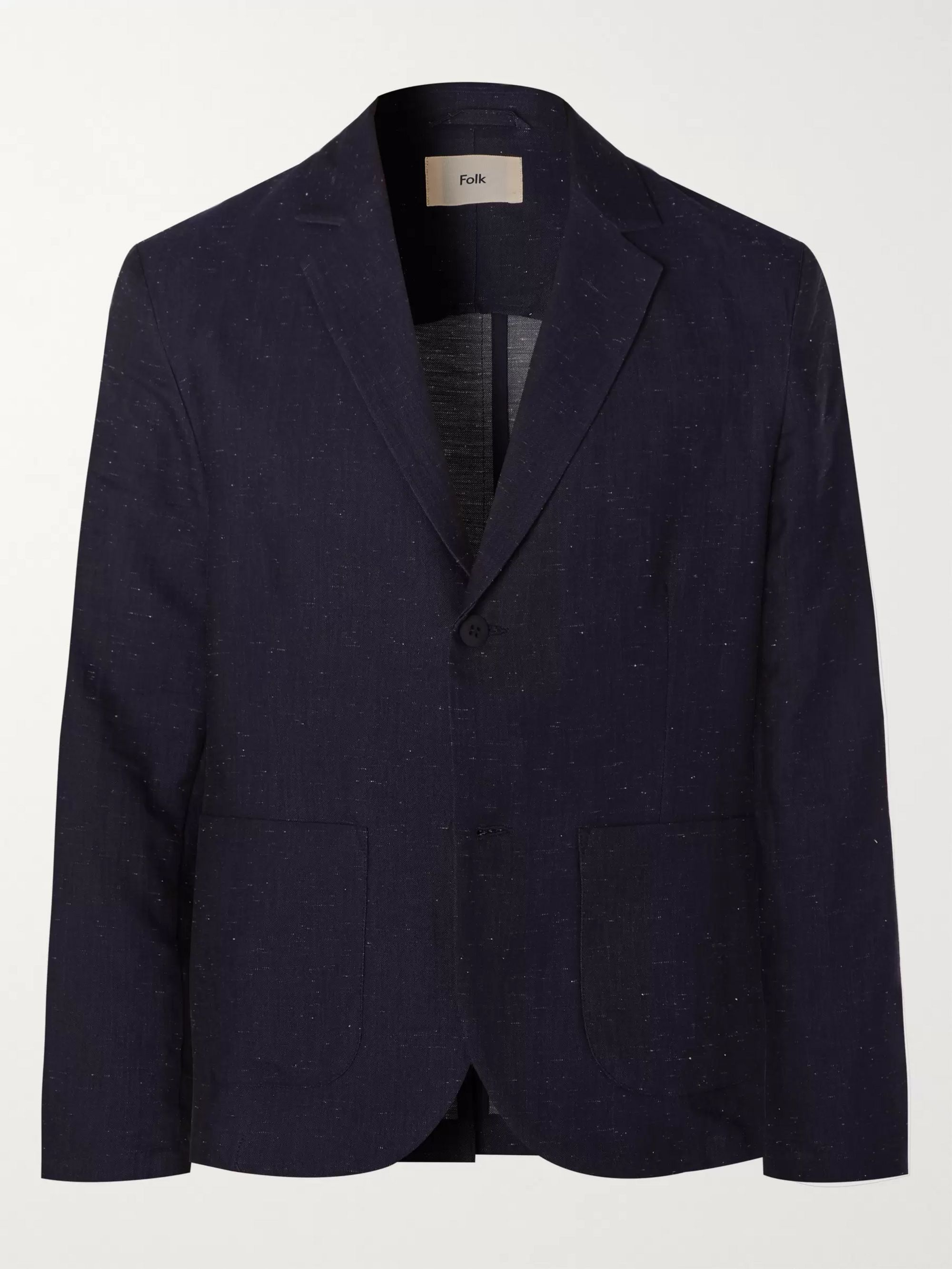 Navy Unstructured Slub Cotton Blend Blazer by Folk