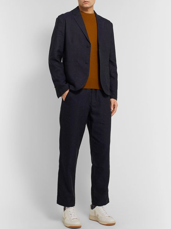 Folk Navy Unstructured Slub Cotton-Blend Blazer