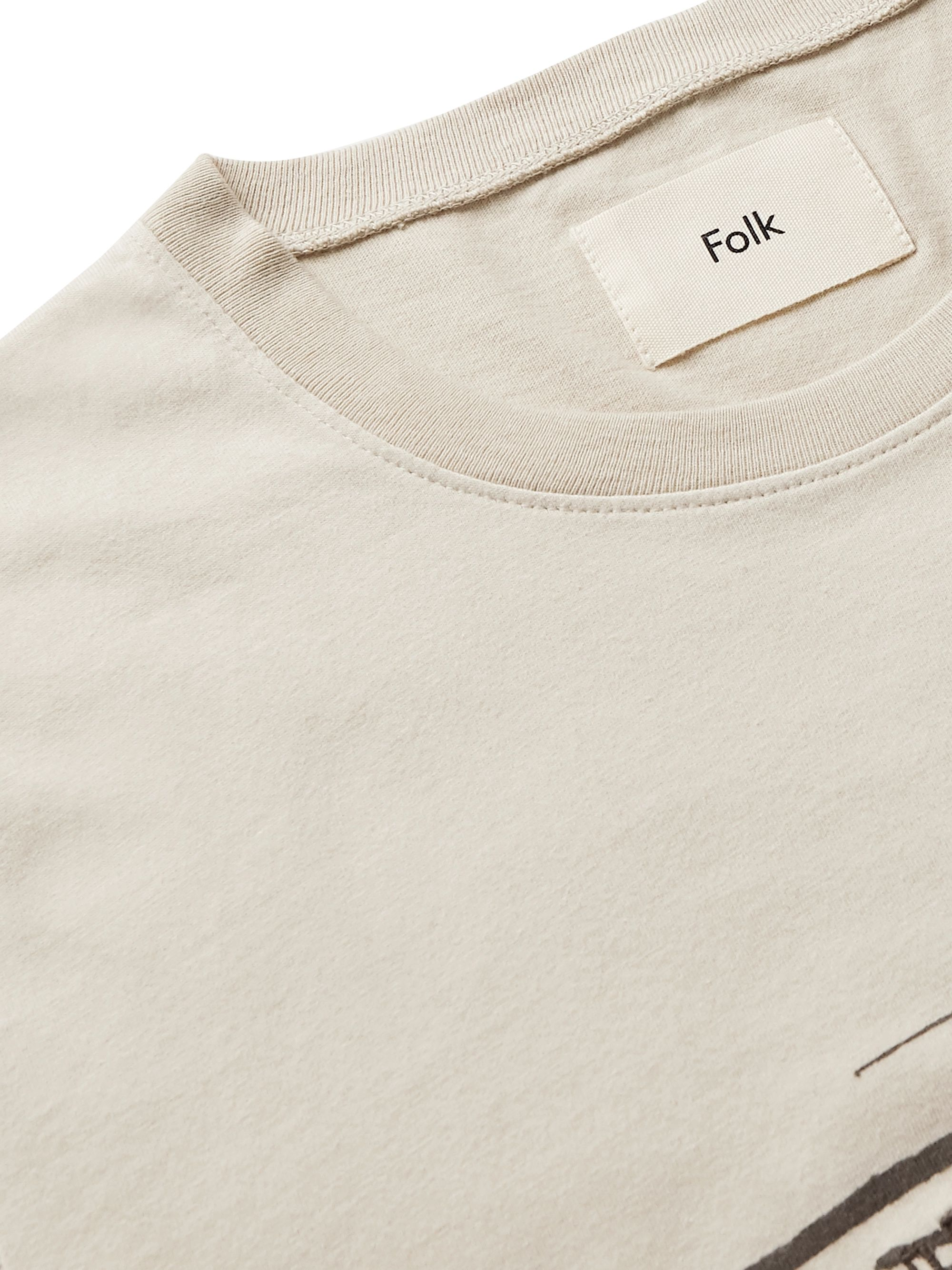 Folk Printed Embroidered Cotton-Jersey T-Shirt