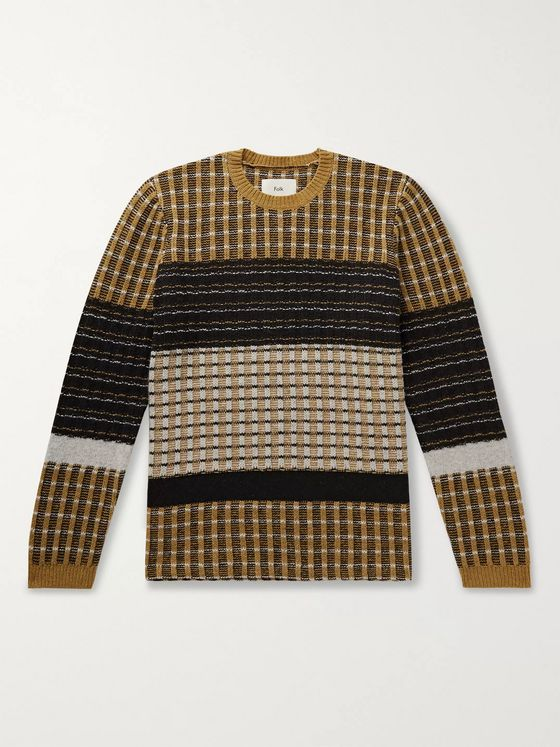 Folk Fraction Colour-Block Wool-Blend Jacquard Sweater