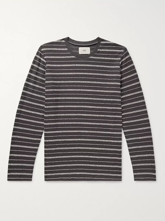 Folk Striped Textured Cotton-Blend T-Shirt